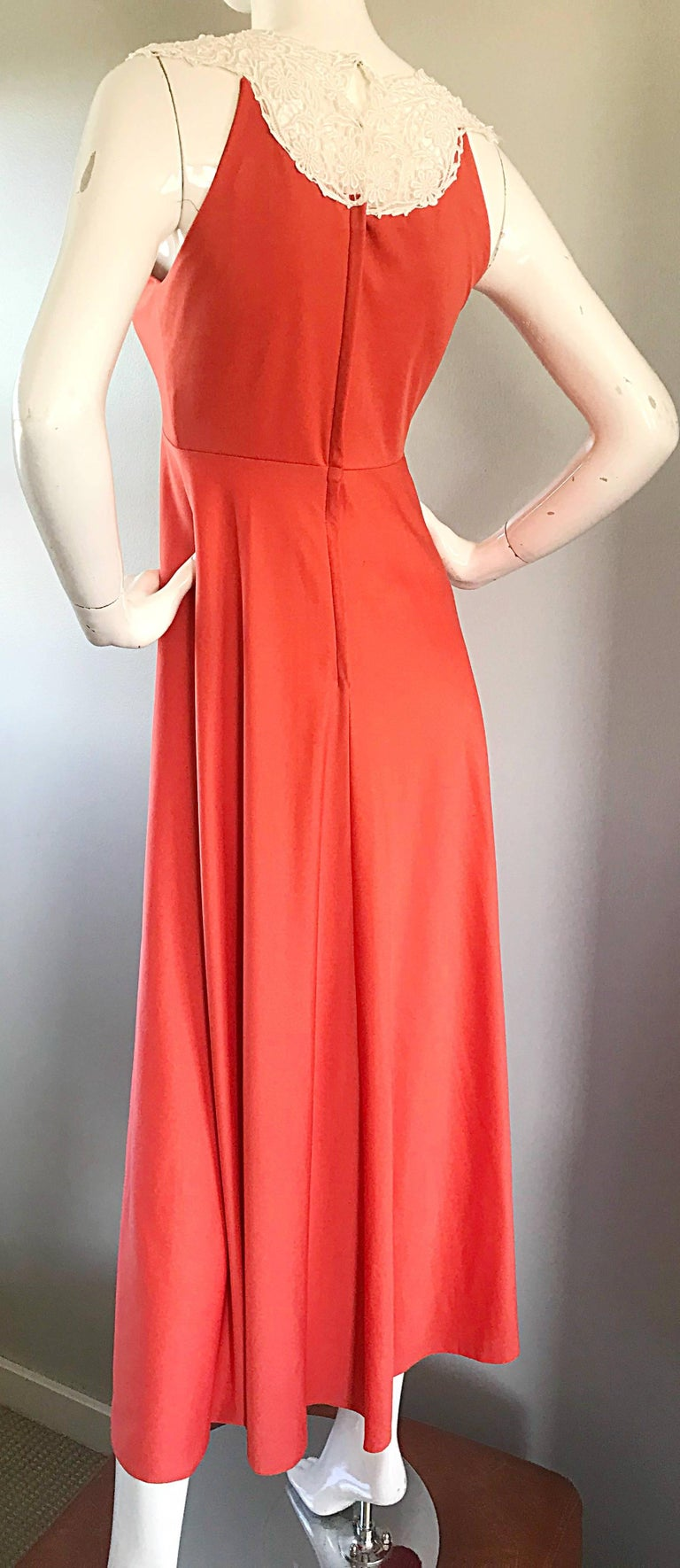 1970s Coral Salmon Pink Jersey + Crochet Lace Collar 70s Vintage Maxi Dress For Sale 6