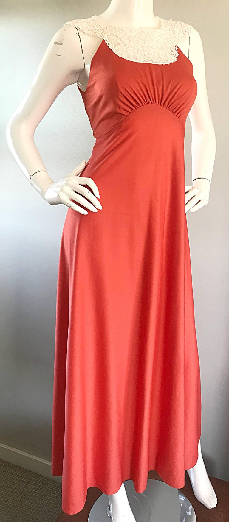 1970s Coral Salmon Pink Jersey + Crochet Lace Collar 70s Vintage Maxi Dress For Sale 4