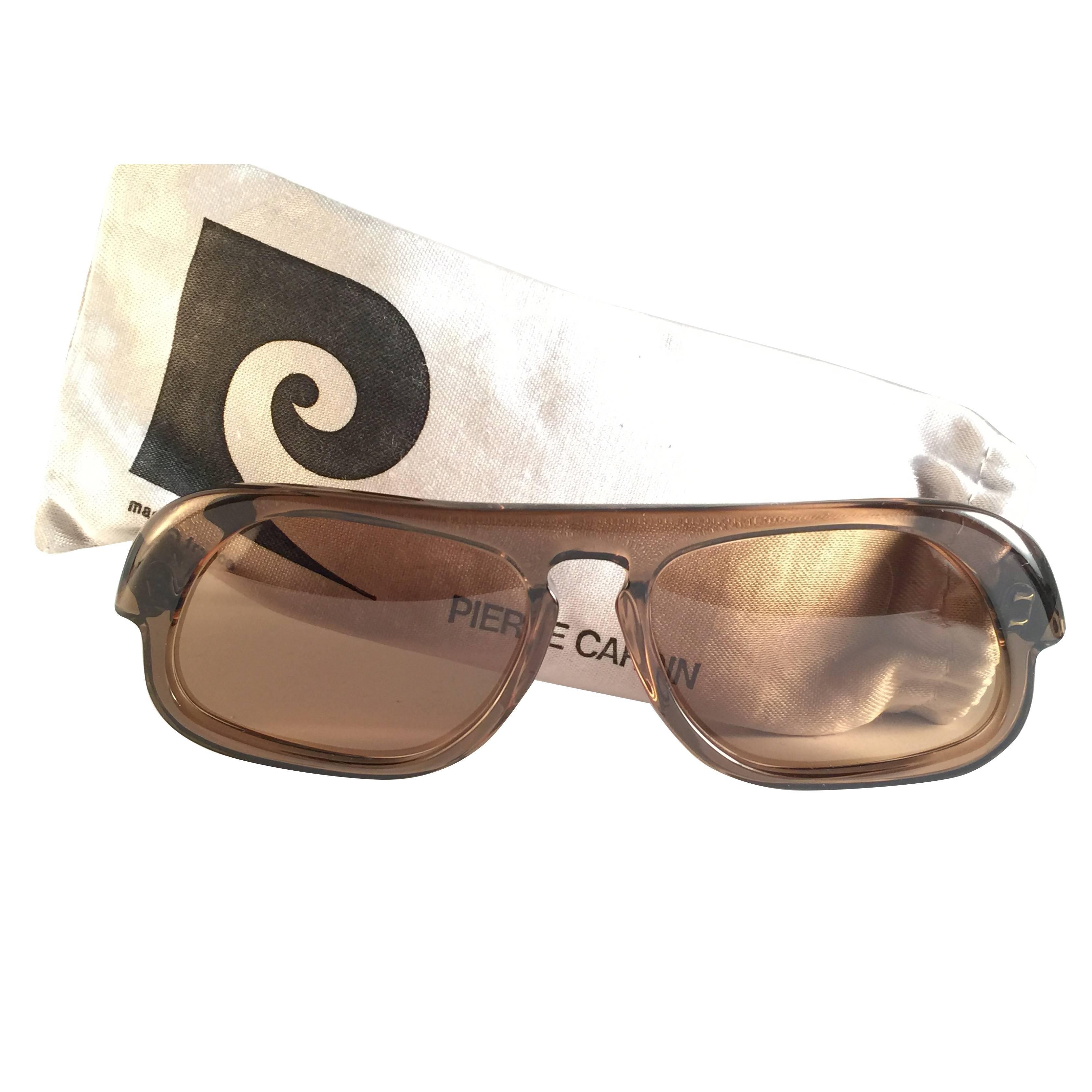 New Vintage Rare Pierre Cardin Brown Solid Lens 1960's sunglasses
