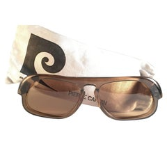 New Vintage Rare Pierre Cardin Brown Solid Lens 1960's sunglasses