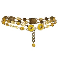 Gianni Versace Yellow and Gold Chain Statement Medusa Belt, 1990s