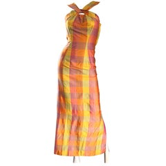 Amazing 1970s Silk Shantung Pink + Yellow + Orange Plaid Vintage 70s Maxi Dress