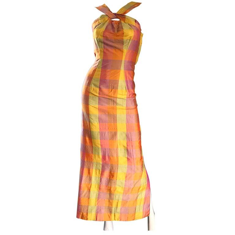 Amazing 1970s Silk Shantung Pink + Yellow + Orange Plaid Vintage 70s Maxi Dress