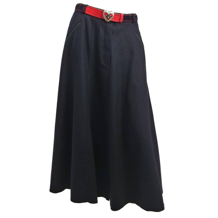 1990s Black Wool Maxi Skirt w/ Belt