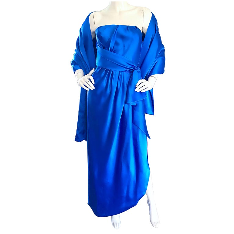 Frank Usher Vintage Royal Blue Satin Strapless Gown and Shawl