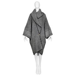 John Galliano Black and White Soft Wool Cocoon Blanket Style Coat