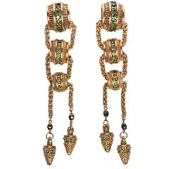1980s  Claire Dévé Gold Green Crystal Shoulder Duster Earrings