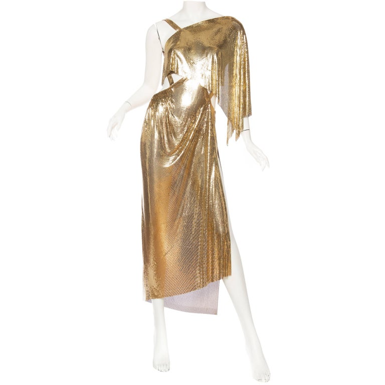 Gold Metal Mesh Backless One Sleeve Gown With High Slit For Sale