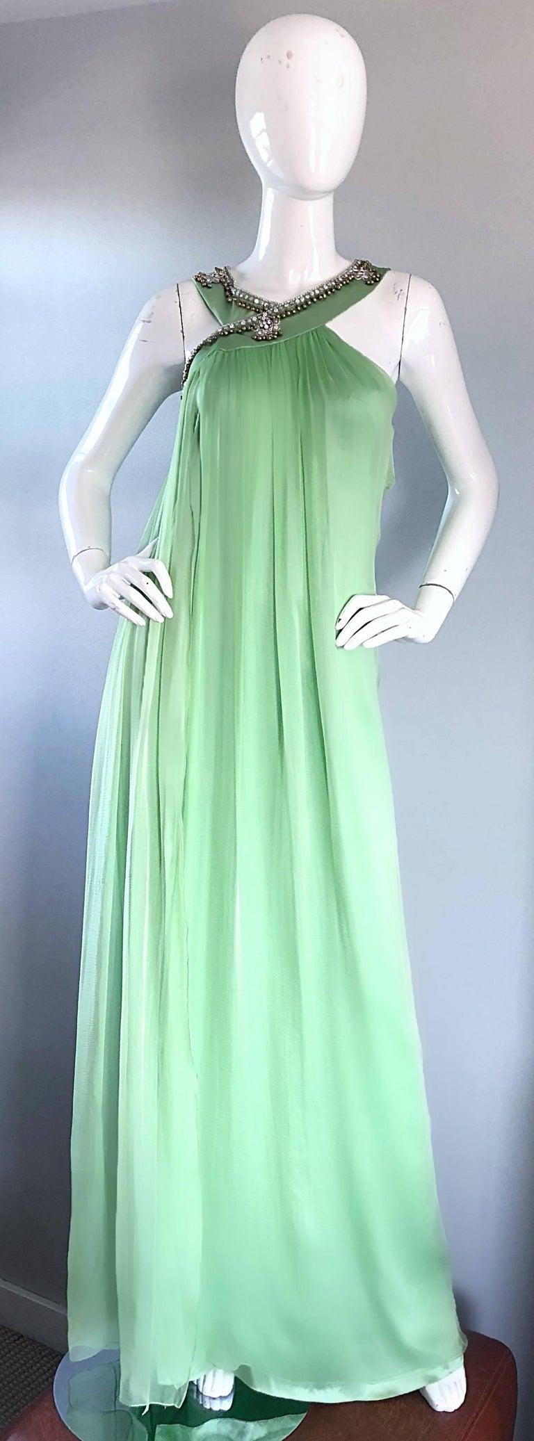 New Christian Dior John Galliano Light Green Silk Chiffon Grecian Gown, Sz 10   In New Never_worn Condition For Sale In San Francisco, CA