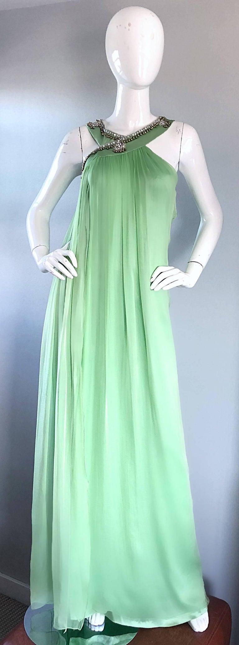 New Christian Dior John Galliano Light Green Silk Chiffon Grecian Gown, Sz 10   In New Condition For Sale In Chicago, IL
