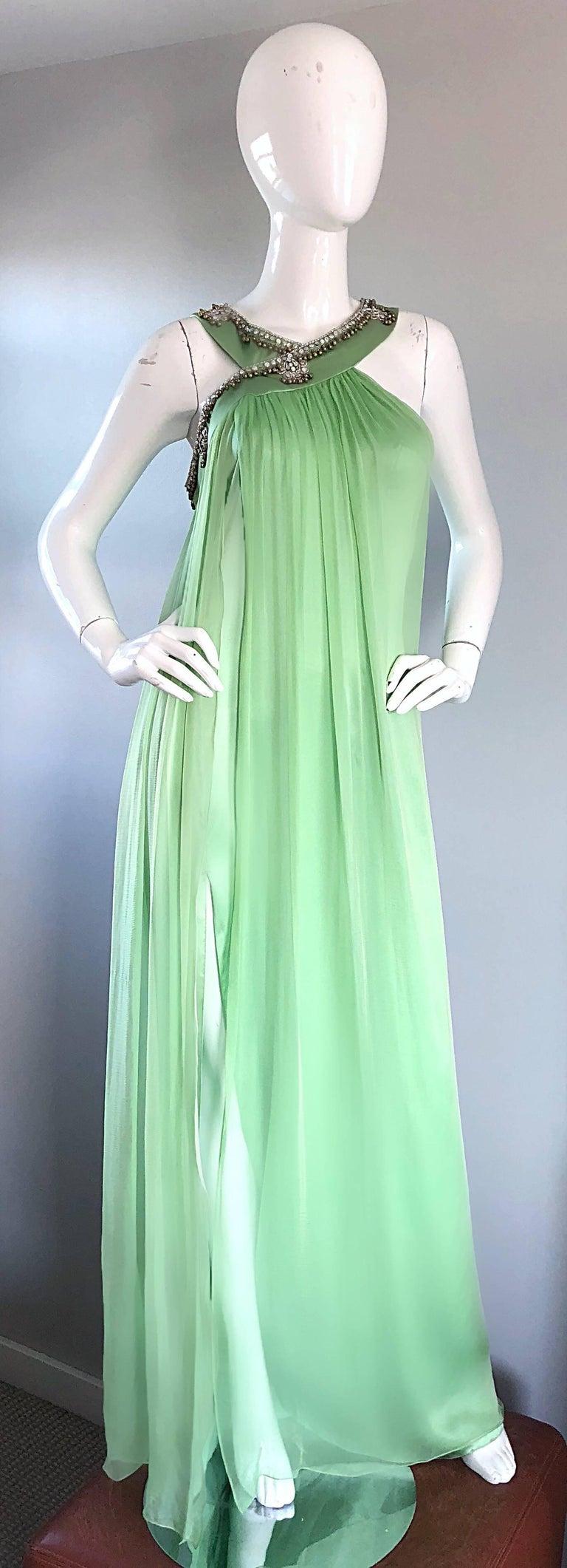 New Christian Dior John Galliano Light Green Silk Chiffon Grecian Gown, Sz 10   For Sale 2