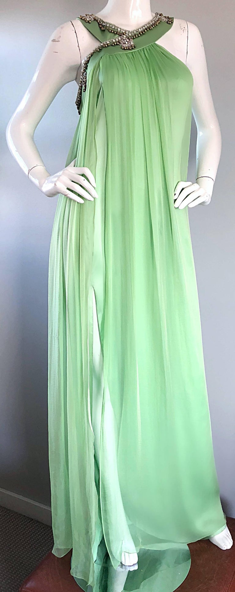 New Christian Dior John Galliano Light Green Silk Chiffon Grecian Gown, Sz 10   For Sale 3