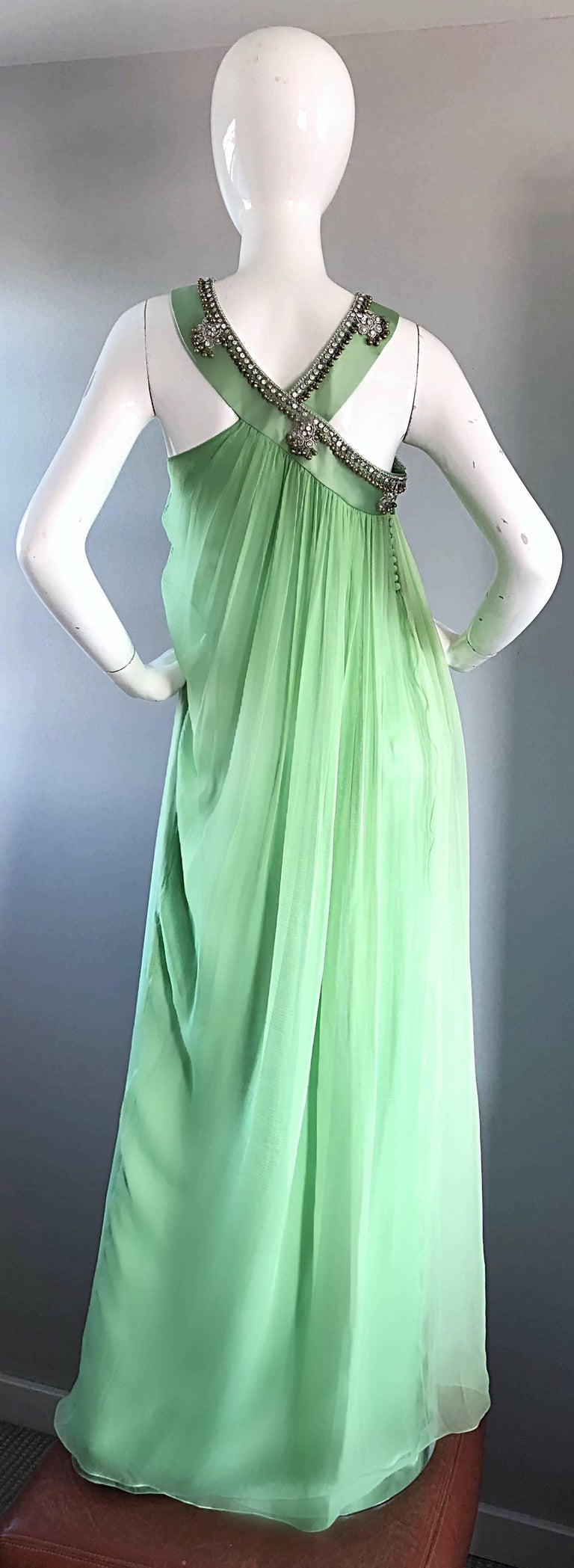 New Christian Dior John Galliano Light Green Silk Chiffon Grecian Gown, Sz 10   For Sale 4