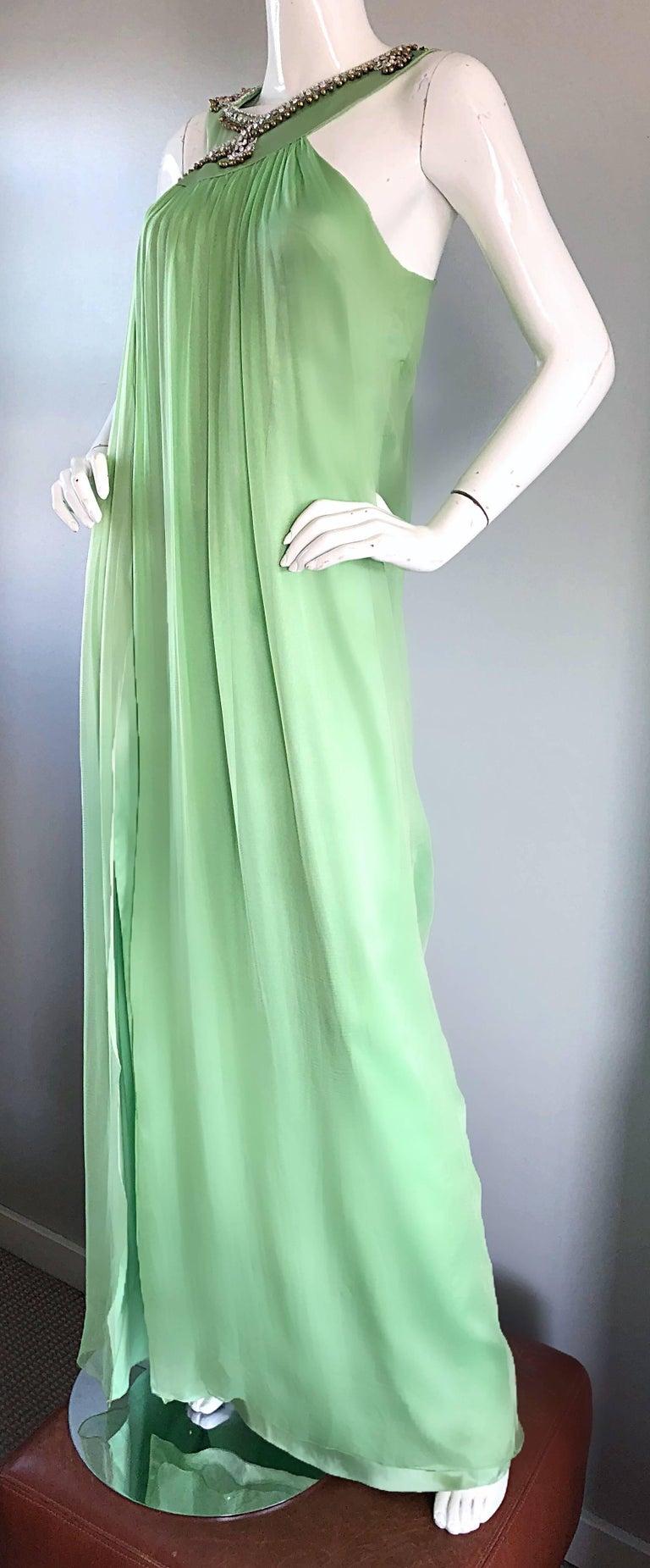 New Christian Dior John Galliano Light Green Silk Chiffon Grecian Gown, Sz 10   For Sale 1