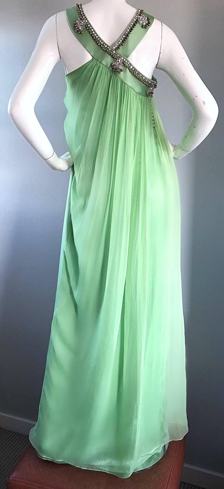 New Christian Dior John Galliano Light Green Silk Chiffon Grecian Gown, Sz 10   For Sale 5