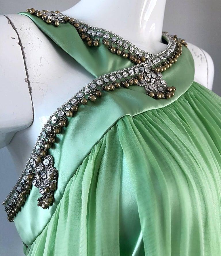 Women's New Christian Dior John Galliano Light Green Silk Chiffon Grecian Gown, Sz 10   For Sale