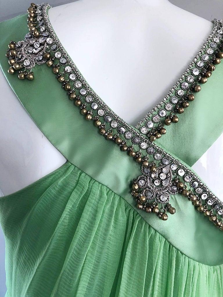 New Christian Dior John Galliano Light Green Silk Chiffon Grecian Gown, Sz 10   For Sale 6