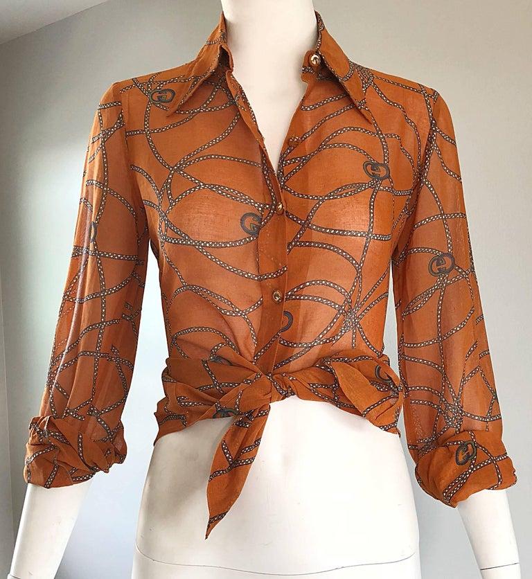 Gucci Signature Chain Horsebit Print Semi Sheer Cotton Shirt, Vintage 1970s  10