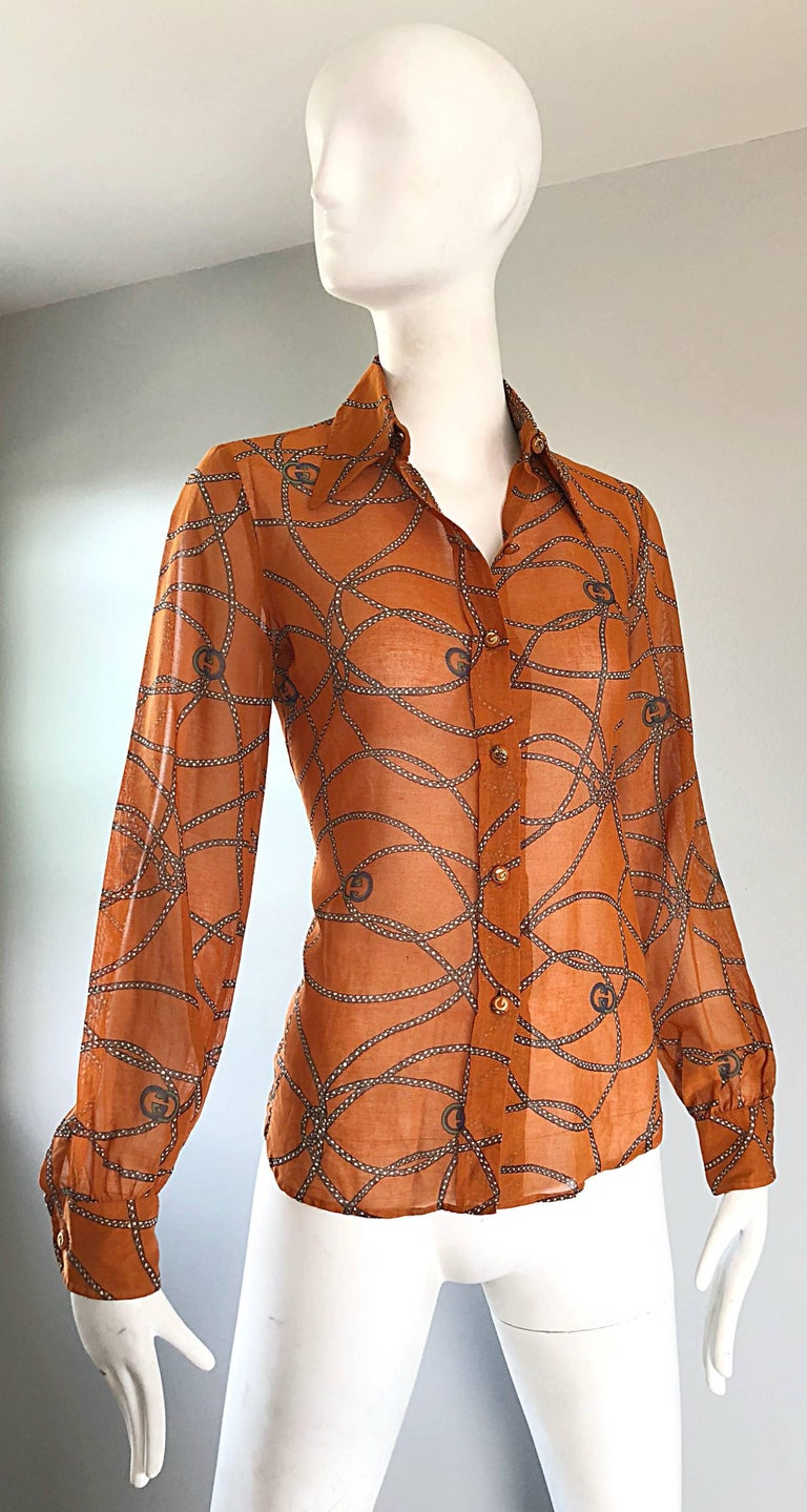 Gucci Signature Chain Horsebit Print Semi Sheer Cotton Shirt, Vintage 1970s  8