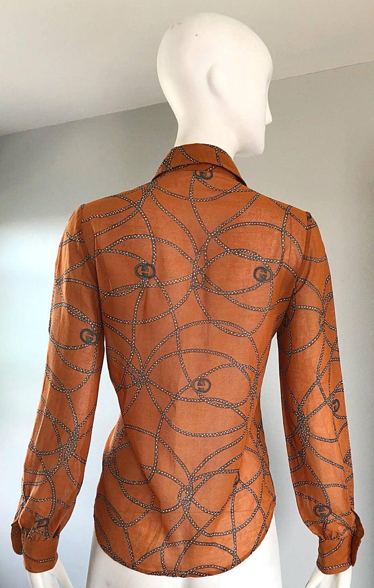 Gucci Signature Chain Horsebit Print Semi Sheer Cotton Shirt, Vintage 1970s  9