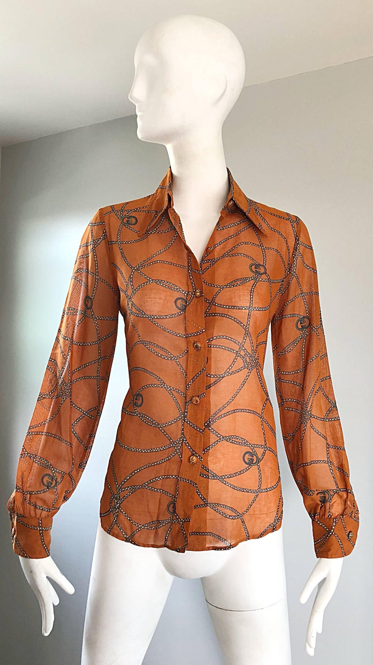 Brown Gucci Signature Chain Horsebit Print Semi Sheer Cotton Shirt, Vintage 1970s  For Sale
