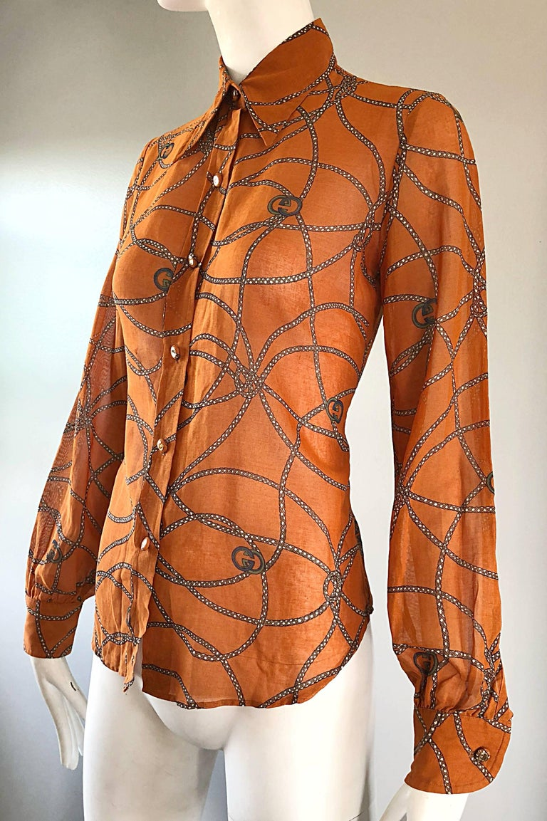 Gucci Signature Chain Horsebit Print Semi Sheer Cotton Shirt, Vintage 1970s  7