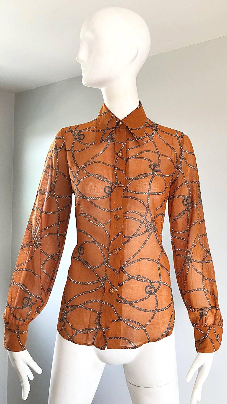 Gucci Signature Chain Horsebit Print Semi Sheer Cotton Shirt, Vintage 1970s  5