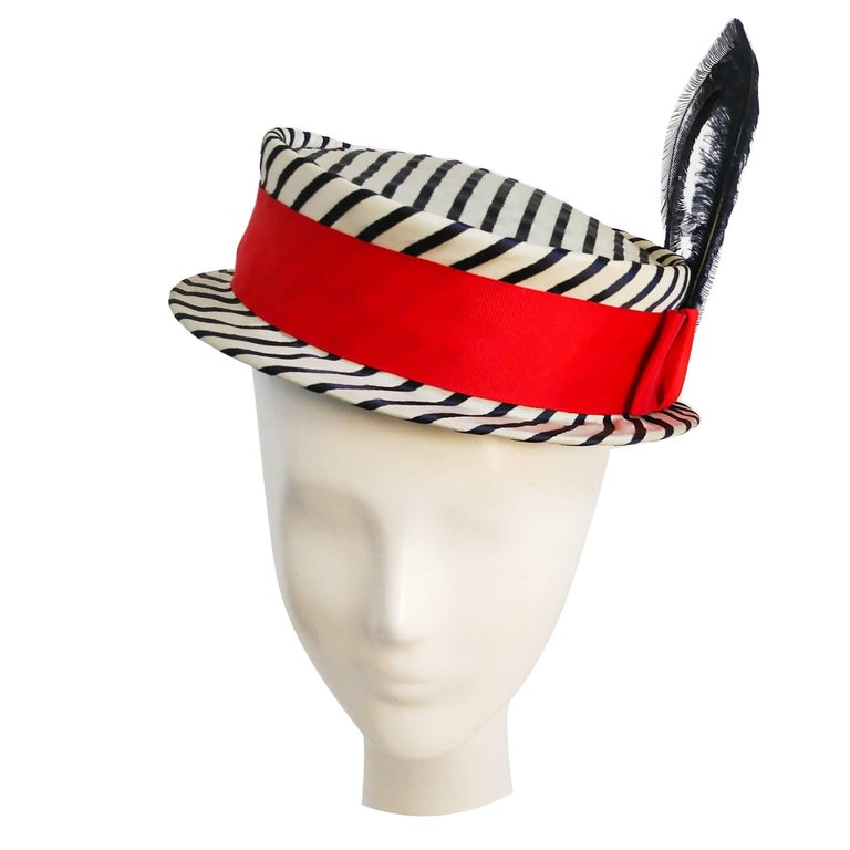 1940s Black & White Striped Red Band Feather Hat