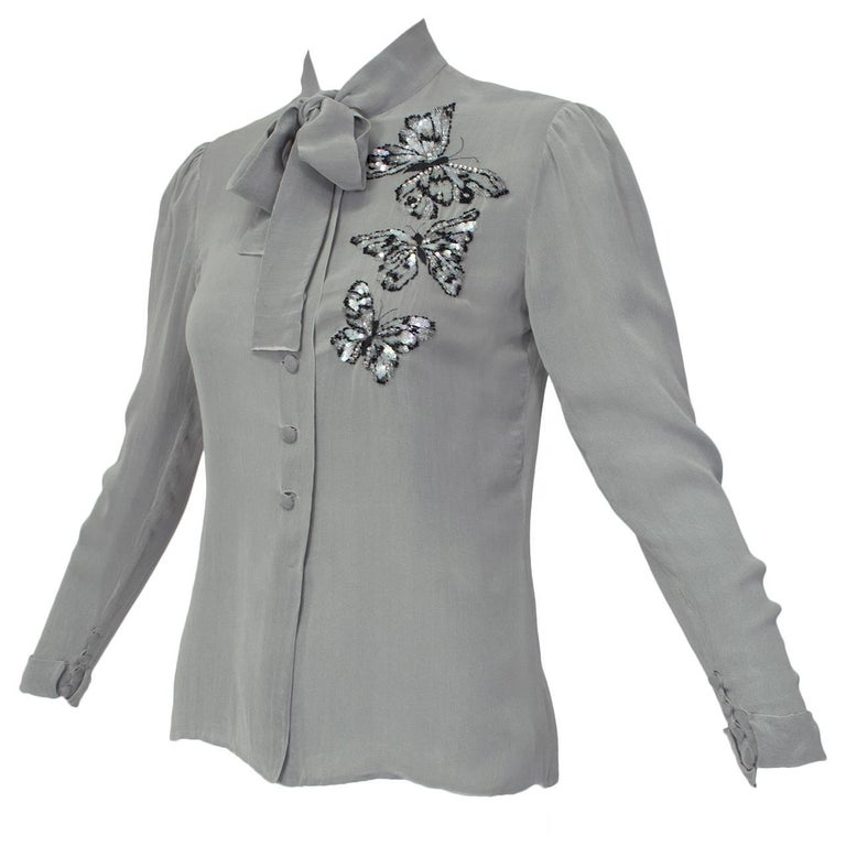 Jean-Louis Scherrer Numbered Couture Butterfly Pussy Bow Blouse, 1970s For Sale