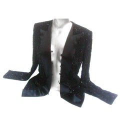 Mirella Cavorso Italian Black Silk Beaded Tuxedo Style Evening Jacket
