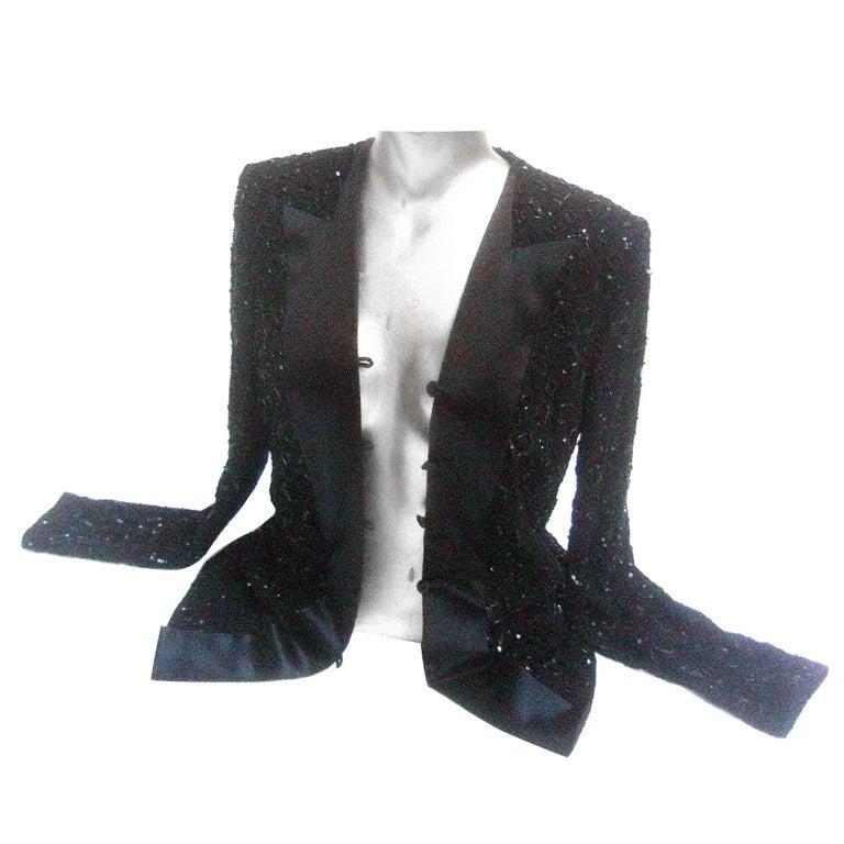 Mirella Cavorso Italian Black Silk Beaded Tuxedo Style Evening Jacket  For Sale