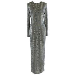 Lorry Newhouse Long Silver Sequin Dress