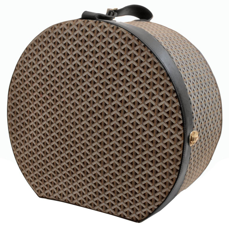 50s Goyard Round Hat Box Trunk XL Travel Bag Linen Goyardine Black Leather Trim