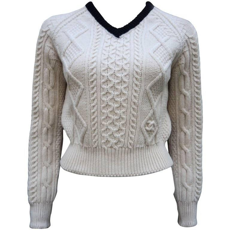 Chanel Handknit Ivory and Black Wool Sweater Winter Collection, 1999