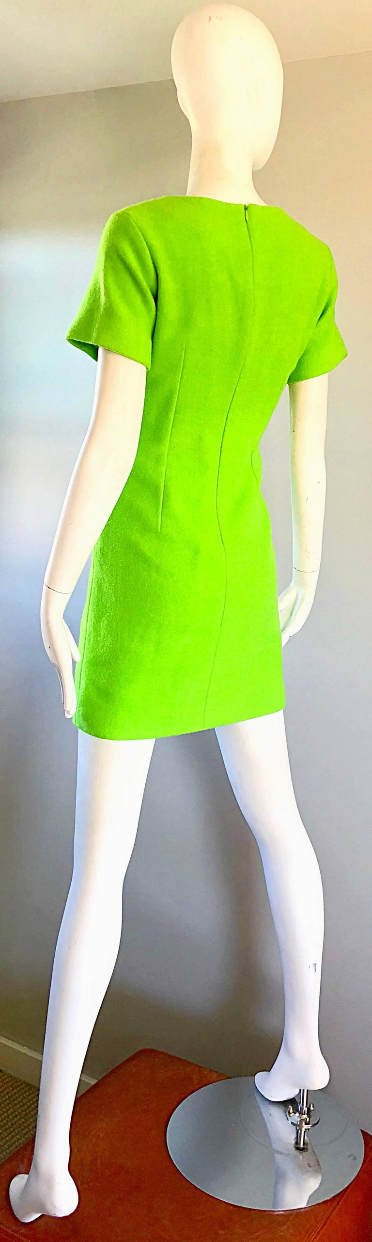 5b3ac232ca 1990s Gianni Versace Neon Lime Green Bodycon Wool Vintage 90s Mini Dress  For Sale 6