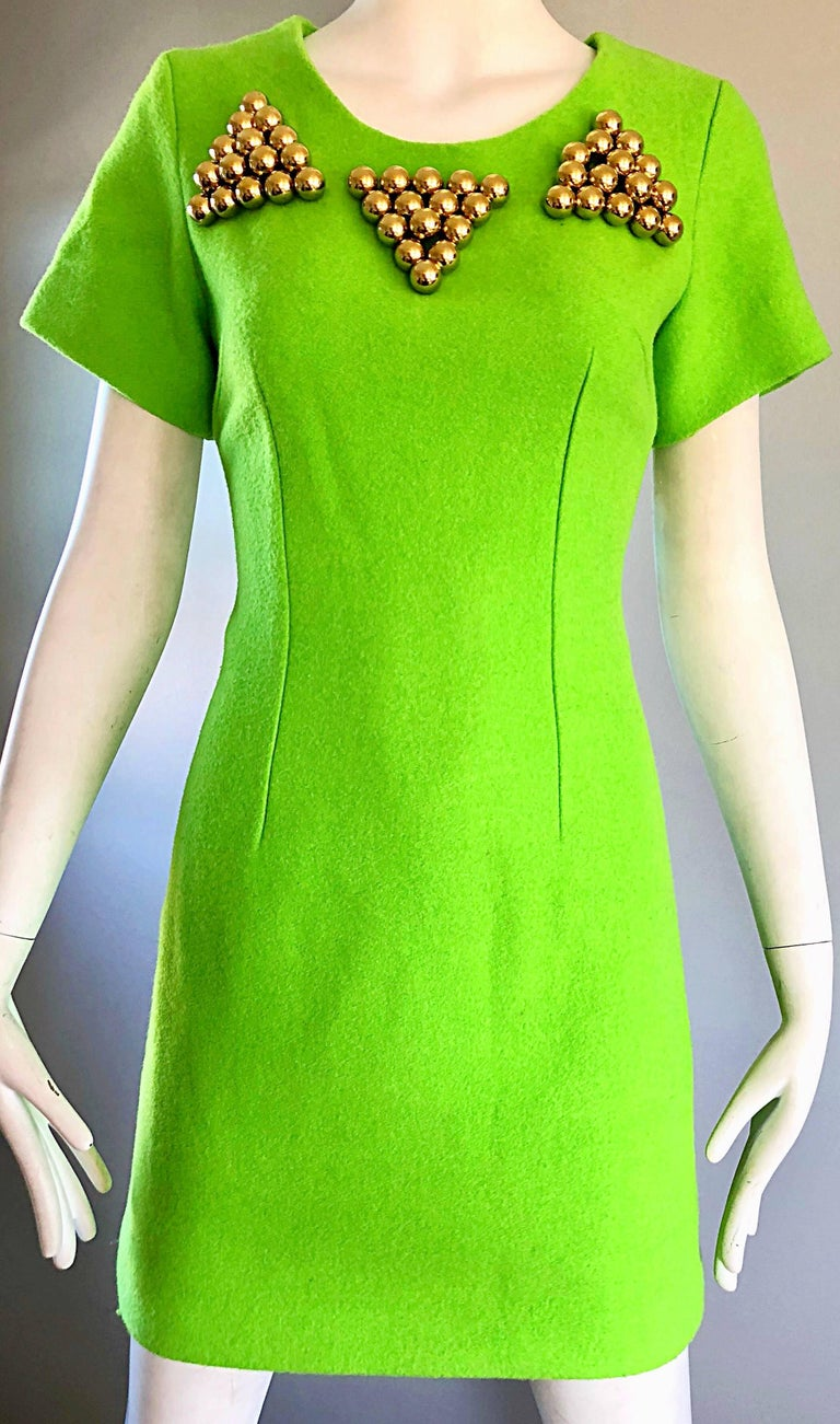 db9122a259 1990s Gianni Versace Neon Lime Green Bodycon Wool Vintage 90s Mini Dress In  Excellent Condition For