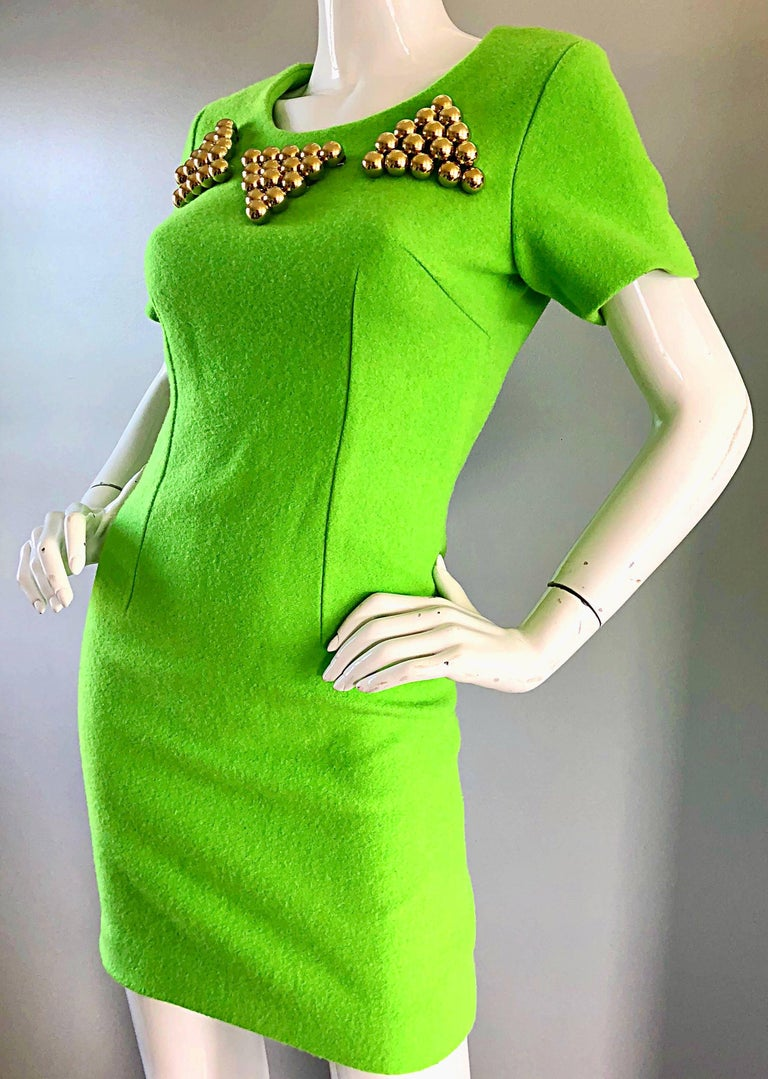 923de08cf3 1990s Gianni Versace Neon Lime Green Bodycon Wool Vintage 90s Mini Dress  For Sale 4
