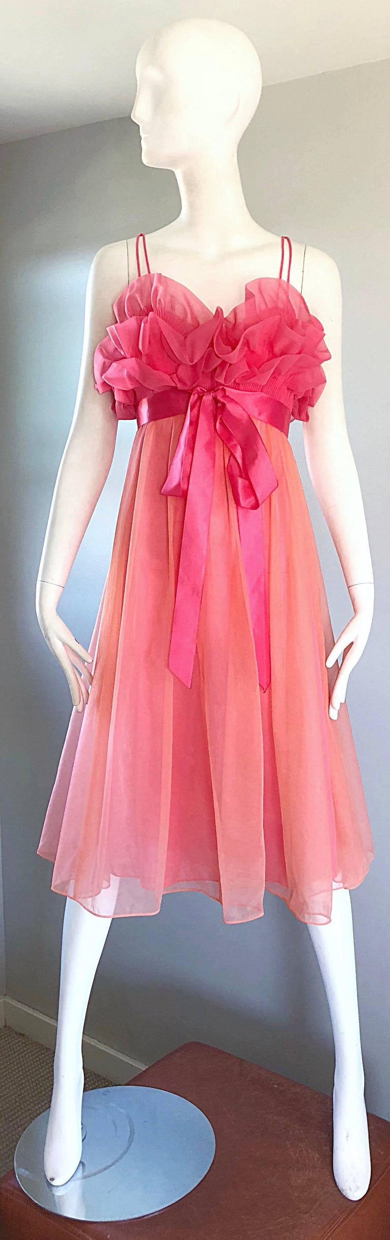 1960s Vanity Fair Negligee Peignoir Hot Pink Ruffled Nightgown Dress ...