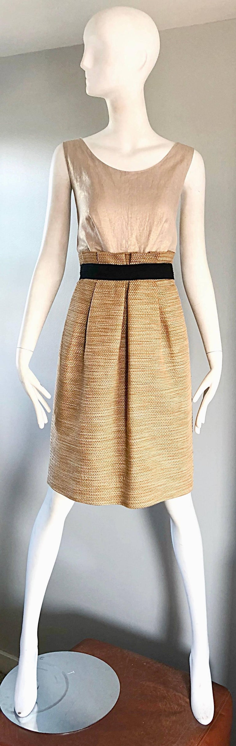Brown NWT 1990s Dolce & Gabbana Vintage 90s Gold Metallic Size 8 / 10 Cocktail Dress For Sale