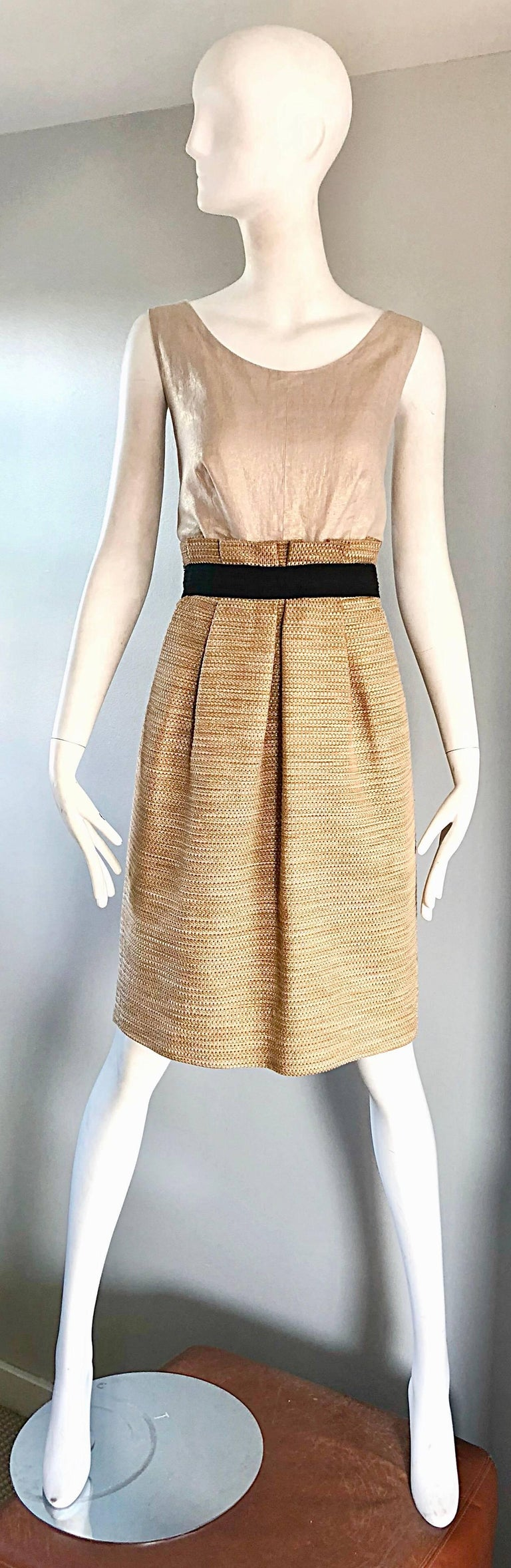 NWT 1990s Dolce & Gabbana Vintage 90s Gold Metallic Size 8 / 10 Cocktail Dress In New Condition For Sale In Chicago, IL