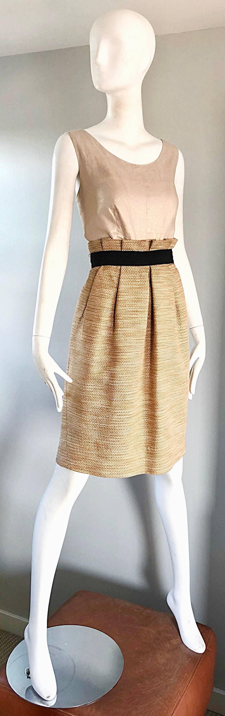 NWT 1990s Dolce & Gabbana Vintage 90s Gold Metallic Size 8 / 10 Cocktail Dress For Sale 3