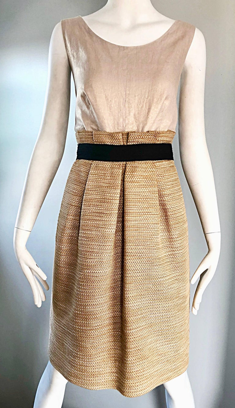 Women's NWT 1990s Dolce & Gabbana Vintage 90s Gold Metallic Size 8 / 10 Cocktail Dress For Sale