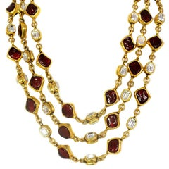 CHANEL Vintage '80s Three Strand Red Gripoix & Strass Crystal Necklace