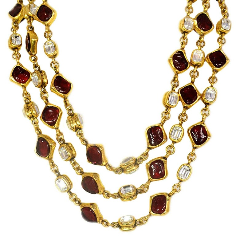 Chanel Vintage '80s Three Strand Red Gripoix & Strass Crystal Necklace For Sale