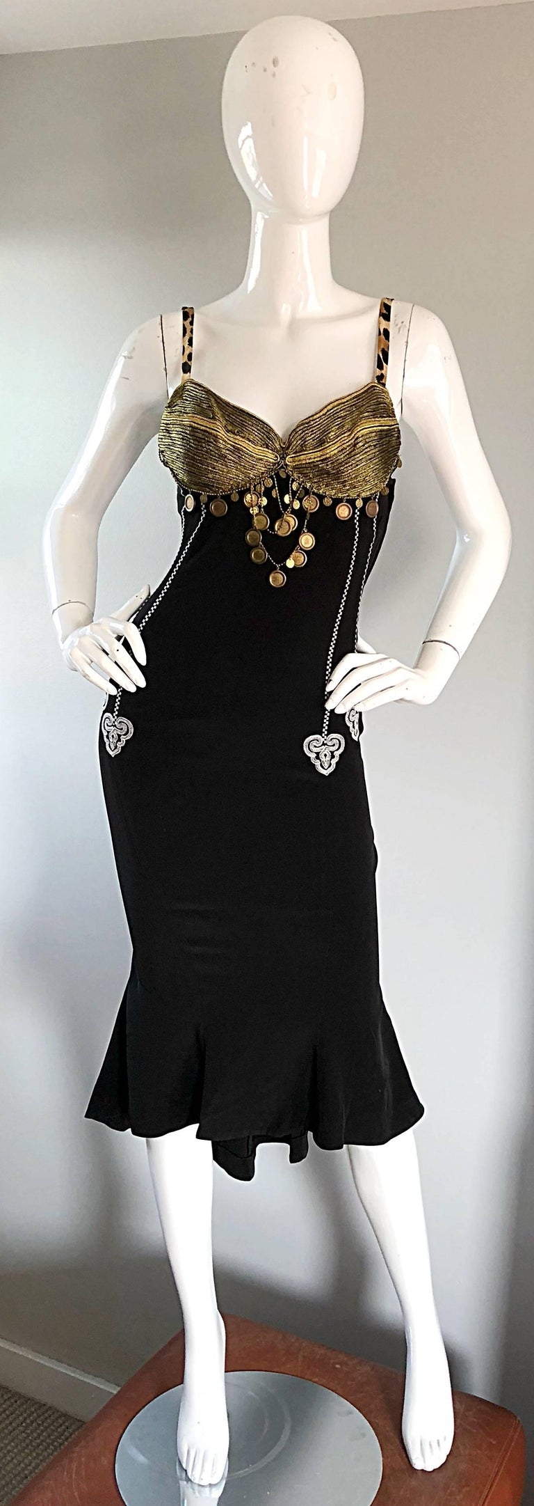 1980s Rifat Ozbek Sz 8 Black White Leopard Print Coin Embellished Mermaid Dress In Excellent Condition For Sale In Chicago, IL