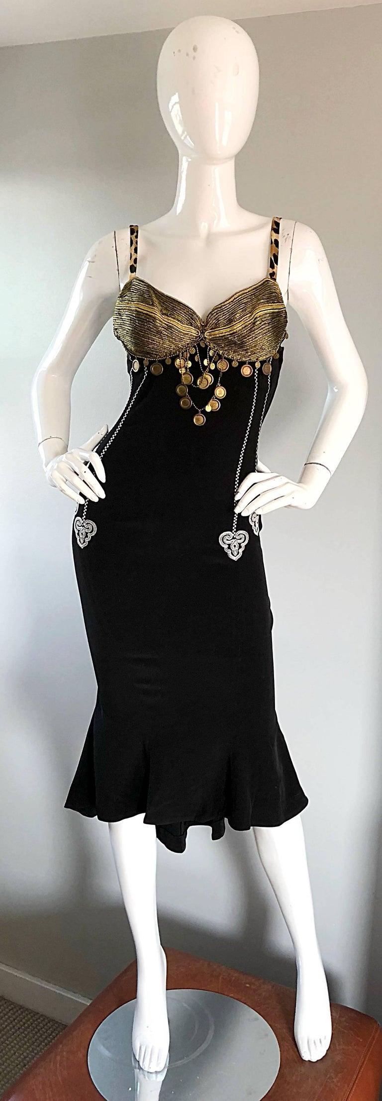 Women's 1980s Rifat Ozbek Sz 8 Black White Leopard Print Coin Embellished Mermaid Dress For Sale