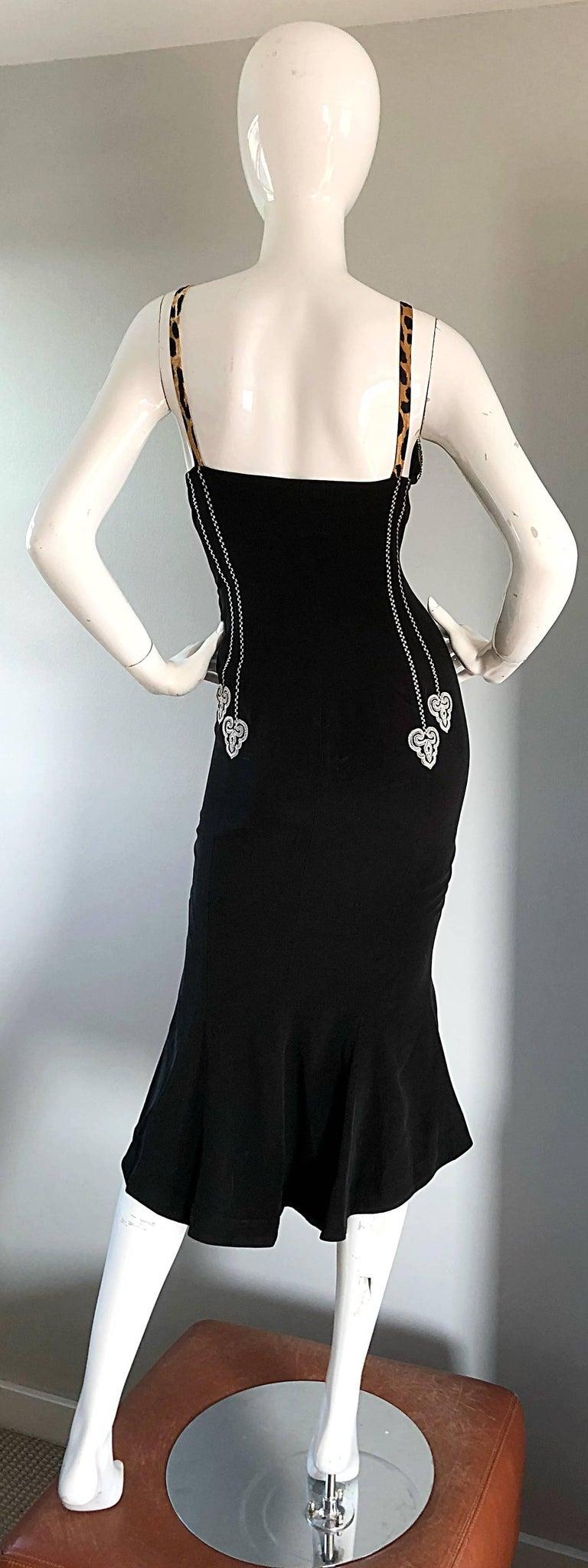 1980s Rifat Ozbek Sz 8 Black White Leopard Print Coin Embellished Mermaid Dress For Sale 5