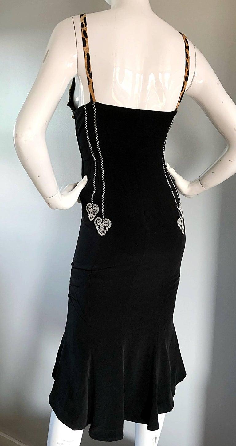 1980s Rifat Ozbek Sz 8 Black White Leopard Print Coin Embellished Mermaid Dress For Sale 6