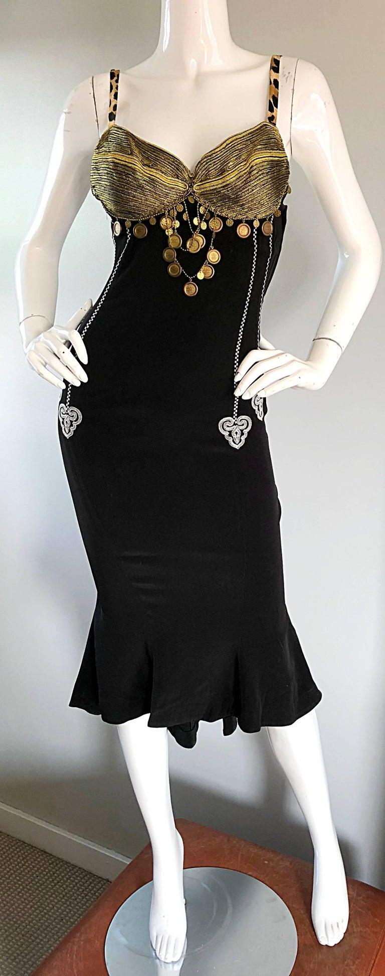 1980s Rifat Ozbek Sz 8 Black White Leopard Print Coin Embellished Mermaid Dress For Sale 1