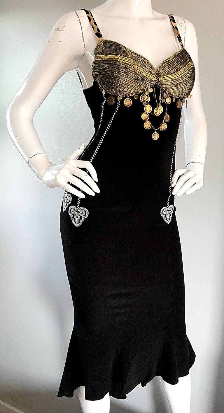 1980s Rifat Ozbek Sz 8 Black White Leopard Print Coin Embellished Mermaid Dress For Sale 4